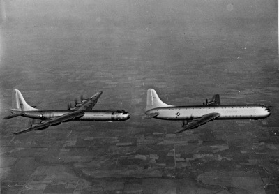 Formation flight Sunday. B-36 and XC-99