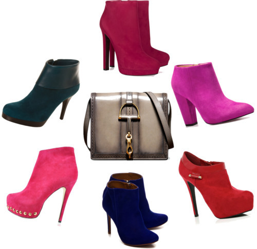 Fall 2012 Shoe Trend Report: Ankle Booties in Color by ischele featuring a high heelAlexander McQueen high heel / Balenciaga high heel / Bootie boots / Suede booties / Zara  boots / River Island red booties, $93