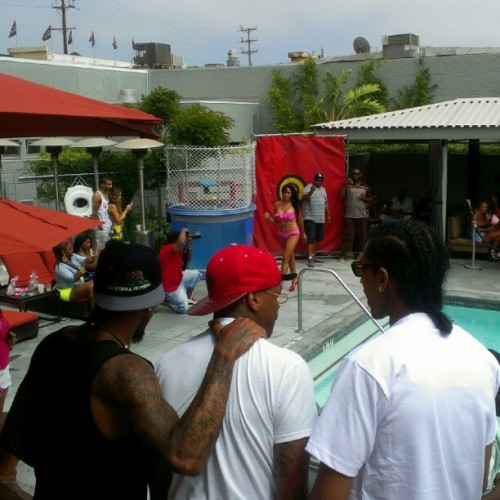#BikiniSwimClub today the back of those heads are Desean Jackson, YG, & Nipsey Hussle  (Taken with Instagram)