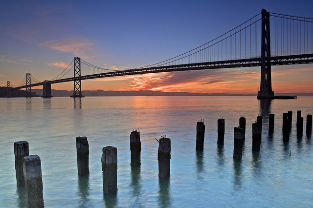 Bay Bridge Sunrise - Spring by Joe Azure on Flickr.