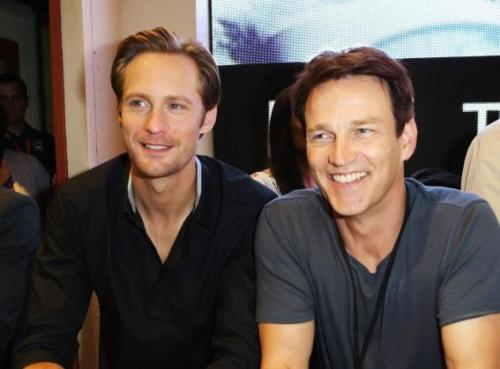 "SAN DIEGO, CA - JULY 14: Actors Alexander Skarsgard and Stephen Moyer attend HBO's ""True Blood"" during Comic-Con International 2012 at San Diego Convention Center on July 14, 2012 in San Diego, California. (Photo by FilmMagic/FilmMagic)"