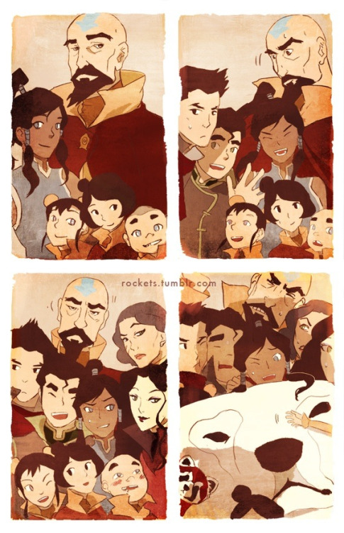 It's like Korra and friends in a photo booth! :) Credit to ddcrane or rockets on tumblr enjoy! :)