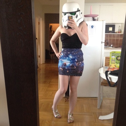 obicynkenobi:  My attire for Geeks After Dark tonight. <3 #blackmilkclothing #starwars #bluegalaxyskirt #miniskirt #girl #spandex #stormtrooper (Taken with Instagram)