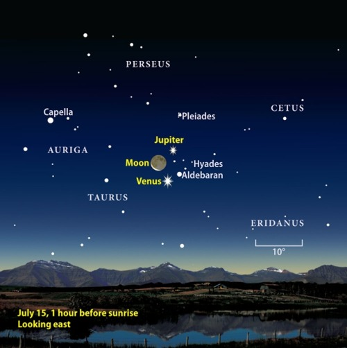 Sunday, July 15 Don't miss the solar system's three brightest nighttime objects as they form a spectacular group in the predawn sky. Although Venus and Jupiter remain on display all week, this is the morning when a lovely waning crescent Moon joins them. The 13-percent-lit Moon lies 4° east of Jupiter and the same distance northwest of Venus. The trio rises in darkness more than 2.5 hours before the Sun and remains a stunning sight well after twilight starts to paint the sky. [source]
