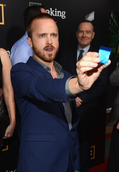 suicideblonde:  Aaron Paul attends at the Breaking Bad Season 5 Premiere at San Diego Comic-Con, July 14th Bryan Cranston was handing out these little bags of 'meth' during their autograph signing.  TESTERS!  #thewire  We've got one of those little bags of 'meth'!