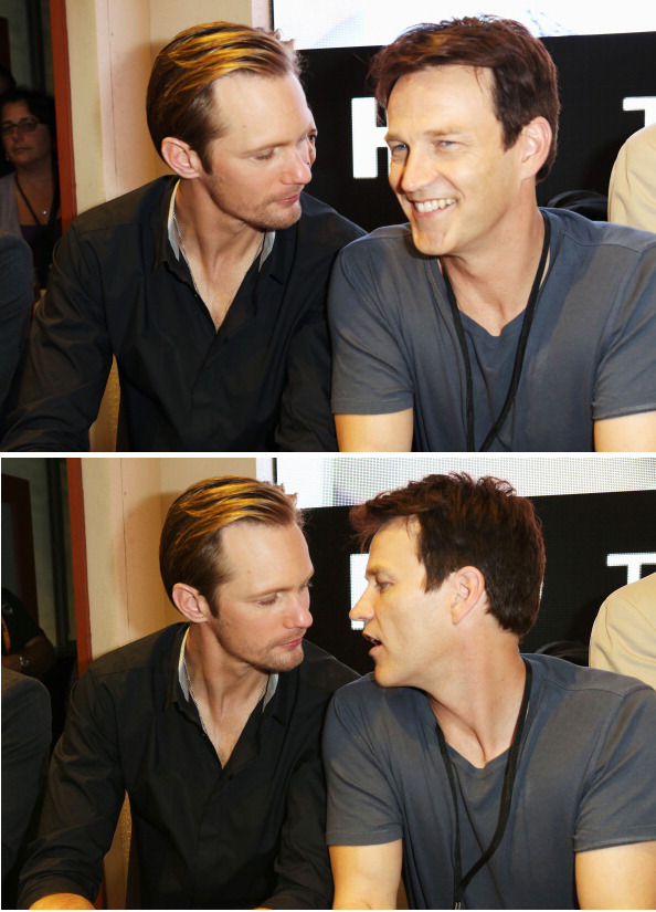 "suicideblonde:  Alexander Skarsgard and Stephen Moyer at the San Diego Comic-Con, July 14th The Advocate:""Speaking of sexual tension, when will Bill and his adversary Eric just get it over with already and have angry vampire sex?"" Stephen:""I've been asking myself that question for a long time. Alex and I would absolutely embrace that. Last year, when Sookie had her fantasy about the two of them with her, we even suggested it. Of course, Bill and Eric together isn't necessarily Sookie's fantasy.""   KISSING IS CLOSE AT HAND!"