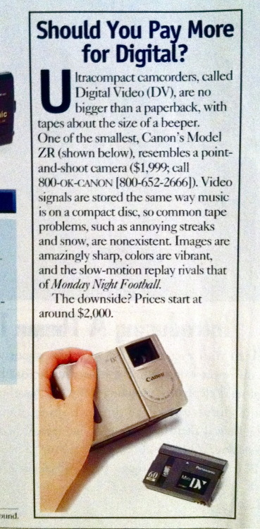 1998 digital camcorder ad $2,000 for a camera that records on beeper-size tapes??  what a steal!  Tell me more about this music on compact discs…