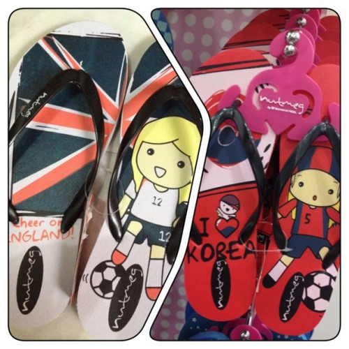 Bloody hell! These England flip flops are too adorbs for words! 😍 might buy the Korea pair next~ #fashion #england #unionjack #korea #cute  (Taken with Instagram)