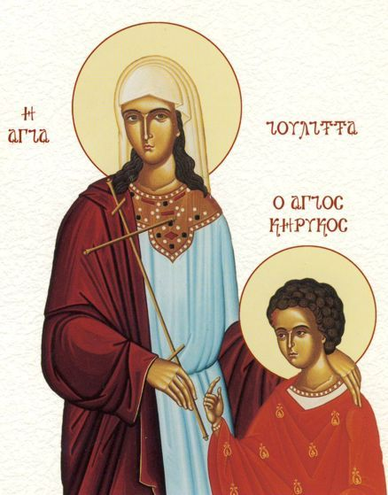 "Today, on July 15, the Orthodox Church commemorates Saints Cyriacus (Quiricus) and Julita. Saint Julitta was of noble birth. She was widowed at an early age with her newborn child Cyriacus. She lived in Iconium in the town of Lycaonia and was completely devoted to the Faith of Christ. She immediately baptized her son after his birth and when he was three years old instructed him in the Faith and taught him to pray as much as a child of that age was capable. When Diocletian decreed the persecution of the Christians in the town of Iconium, much innocent blood was shed. Julitta took her son and hid from the wrath of the heathen in the city of Seleucid. It was not any better there. Julitta was arrested and, as a Christian, was brought before the judge. Since Julitta courageously confessed her faith in the Lord Jesus, the judge, in order to make her feel sorrow and cause her to waver, took the child in his arms and began to caress him. Cyriacus cried out loudly: ""I am a Christian, release me to my mother!"" Cyriacus turning his face away from the judge began to scratch him with his hands. The judge became so enraged that he hurled the child to the ground and pushed him with his feet. The child slid along the stone stairs and gave up his holy and innocent soul to God. Seeing how Cyriacus suffered before her eyes, St. Julitta was joyful and gave thanks to God because He made her son worthy of the martyr's wreath. After much suffering, Julitta was beheaded in the year 304 A.D. The relics of Saints Cyriacus and Julitta, even today, are miracle working. Part of the relics of these saints is to be found in Ohrid in the hospital chapel of the Holy Birth-giver of God. We pray to Sts Cyricus and Julitta for family happiness, and the restoration of sick children to health."