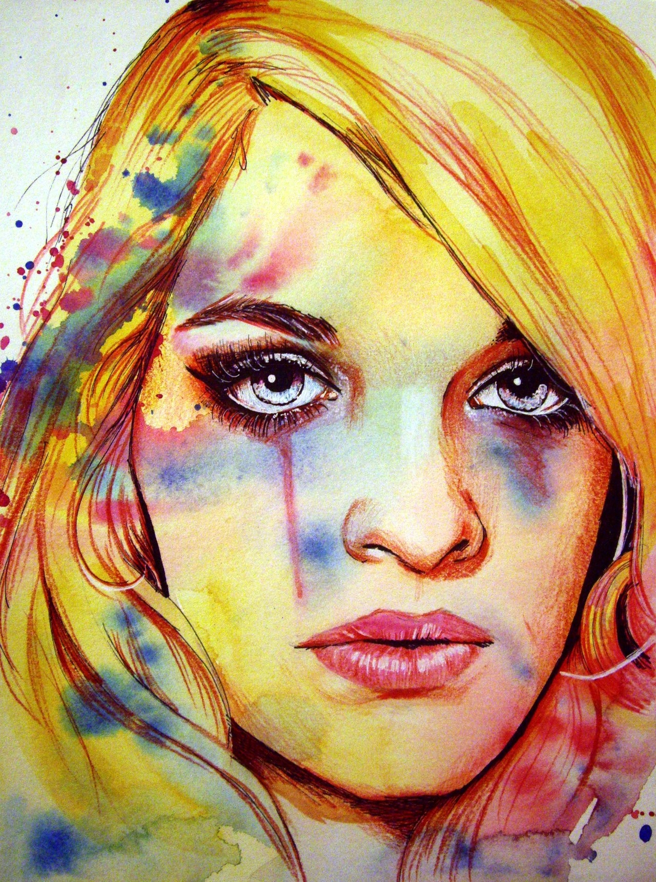 """Jemma"" Watercolor, acrylic, ink, charcoal and color pencil on Canson paper. 9x12 inches. Inspired by a photograph of Jemma Grace Morris from Daren SF Photoarts. SEE ME MAKE IT HERE: http://www.youtube.com/watch?v=jj8zB3XqPGQ&feature=player_embedded http://www.olganoes.com/ http://www.facebook.com/olganoes http://www.olganoes.tumblr.com/ http://www.twitter.com/olganoes8 See the model's Tumblr here: http://www.neonlolita.tumblr.com"
