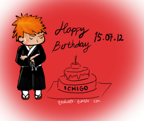 Happy Birthday Ichigo!! too lazy to draw the cake.