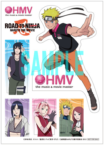 "hacchan1210:  HMV to collaborate with animation film ""NARUTO"" Last month it was announced that Kishimoto Masashi's manga ""NARUTO"" would be coming out with its 9th movie ""ROAD TO NINJA -NARUTO THE MOVIE-"". Slated for a July 28th release, HMV has decided to collaborate with the film. Starting on July 17th to August 3rd HMV will be hold a ""NARUTO"" themed campaign in it's stores. Fans can purchase NARUTO related products such as CD ""Naruto Greatest Hits!!!"" and volume 61 at the store, and those who purchase the products eligible for this campaign, will receive an original ""NARUTO x HMV"" sticker. Also running from July17th to August 12th,  a T-shirt will be given only to Ponta members. Source: Tokyohive"