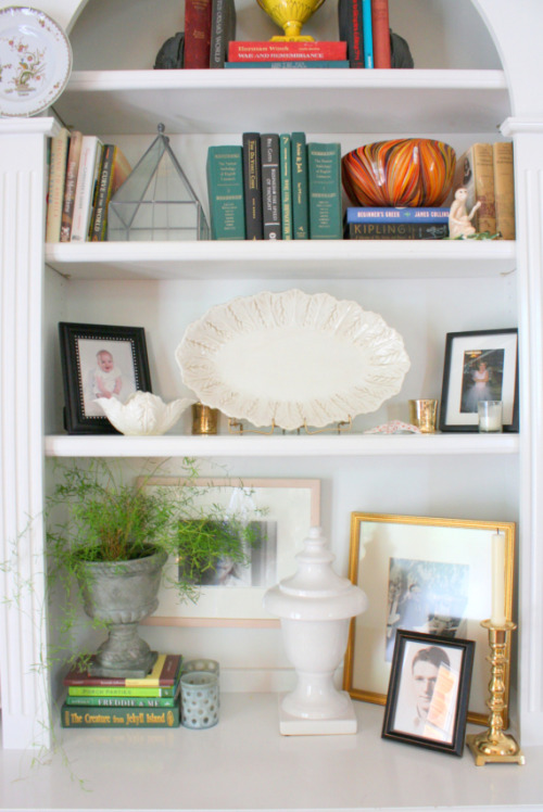 How To Style a Bookshelf on BB&B. More on Bright Bold and Beautiful blog ~ Home Tours