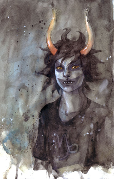Long promised (to myself and my mate Kate…) fanart of Gamzee from Homestuck. I wish scanners could accurately pick up watercolours, it really butchers them DX