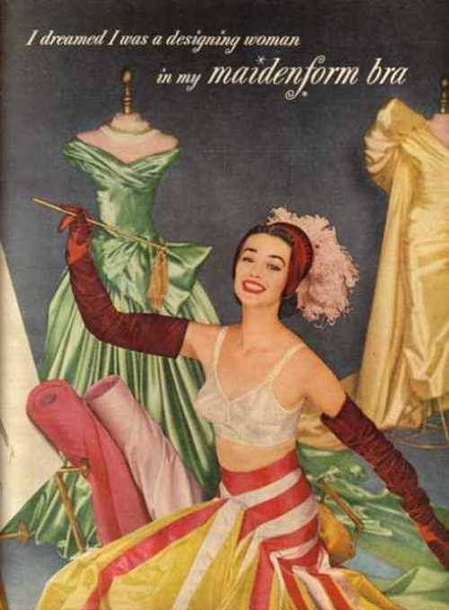 theniftyfifties:  1955 Maidenform bra advertisement.
