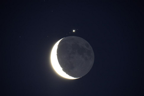 spacettf:  The Moon and Jupiter July 15 2012web by Keith g1 on Flickr. Via Flickr: The Moon and Jupiter very close together on the morning of July 15th 2012