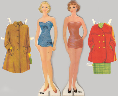 theniftyfifties:  1950s fashion paper dolls.