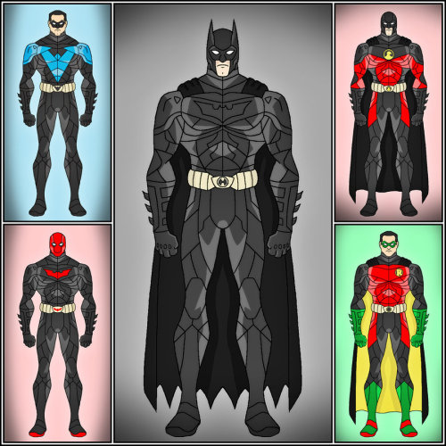 herochan:  Batfamily - The Dark Knight Version Batman (Bruce Wayne), Nightwing (Dick Grayson), Red Hood (Jason Todd), Red Robin (Tim Drake), & Robin (Damian Wayne). Created by Dragos Dragan