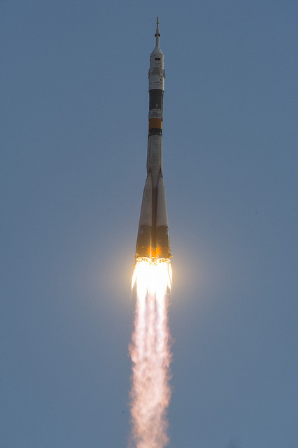 Expedition 32 Launch (201207150012HQ) by nasa hq photo on Flickr.Via Flickr: The Soyuz TMA-05M rocket launches from the Baikonur Cosmodrome in Kazakhstan on Sunday, July 15, 2012 carrying Expedition 32 Soyuz Commander Yuri Malenchenko, NASA Flight Engineer Sunita Williams and JAXA (Japan Aerospace Exploration Agency) Flight Engineer Akihiko Hoshide to the International Space Station.  Photo Credit: (NASA/Carla Cioffi)
