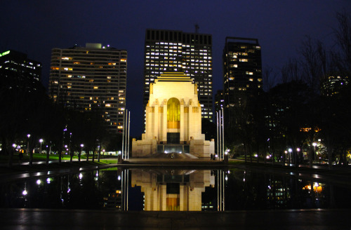"Anzac Memorial - Taken at Hyde Park in Downtown Sydney Here's another picture from that long walk to Sydney a few days ago. Even though I've never been to DC before, Hyde Park makes me think of what I think DC would look like at night (like around the Washington Monument). The next night I went back to Downtown Sydney with a full bus of UNSW Study Abroad and Exchange students, and needless to say, it was a crazy night. Maybe even a little scary… Shot on Canon T3i - 1/10"" f/4.0 - EFS 18-55mm lens"