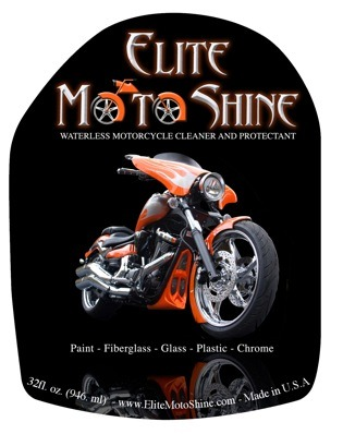 Water-based, Organic, and ECO Friendly. Elite Moto Shine safely and effectively cleans, polishes, and protects without the use of water. It cleans and waxes all solid surfaces such as paint, plastic, fiberglass, glass, windshields and chrome. Elite Moto Shine contains high quality surfactants, polymers, and Carnuaba waxes. Each 32oz bottle will clean and protect an average size motorcycle 15-18 times! You will love the results!