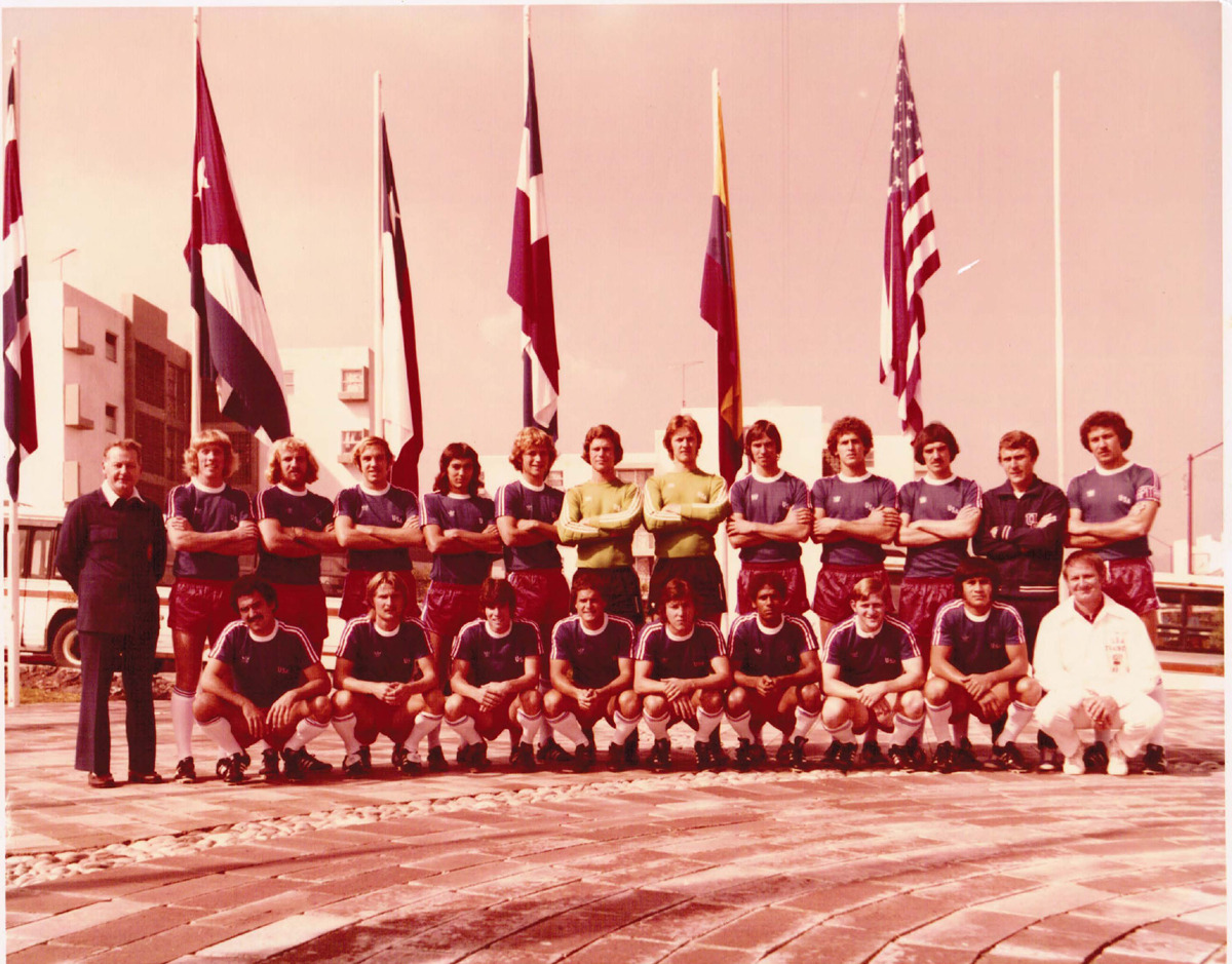 The USA Olympic squad, for the 1976 Summer Olympics Qualifier v Mexico, pose for a group photo in Mexico City. 1976 Summer Olympics Qualifier: Mexico v United States (8-0), August 25, 1975. Toluca, Mexico. Source: Kurt Kuykendall