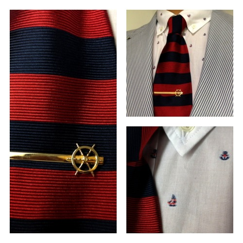 kitsuné shirt and jacket - Brooks Brothers tie- Vintage tie bar