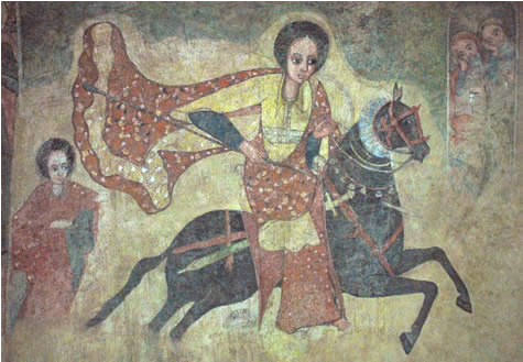 "collective-history:  An Ethiopian fresco of the Queen of Sheba travelling to Solomon. An ancient compilation of Ethiopian legends, Kebra Negast ('the Glory of Kings'), is dated to seven hundred years ago and relates a history of Makeda and her descendants. In this account King Solomon is said to have seduced the Queen of Sheba and sired her son, Menelik I, who would become the first Emperor of Ethiopia. The narrative given in the Kebra Negast - which has no parallel in the Hebrew Biblical story - is that King Solomon invited the Queen of Sheba to a banquet, serving spicy food to induce her thirst, and inviting her to stay in his palace overnight. The Queen asked him to swear that he would not take her by force. He accepted upon the condition that she, in turn, would not take anything from his house by force. The Queen assured that she would not, slightly offended by the implication that she, a rich and powerful monarch, would engage in stealing. However, as she woke up in the middle of the night, she was very thirsty. Just as she reached for a jar of water placed close to her bed, King Solomon appeared, warning her that she was breaking her oath, water being the most valuable of all material possessions. Thus, while quenching her thirst, she set the king free from his promise and they spent the night together. Other Ethiopian accounts make her the daughter of a king named Agabo or Agabos, in some legends said to have become king after slaying the mythological serpent Arwe; in others, to have been the 28th ruler of the Agazyan tribe. In either event, he is said to have extended his Empire to both sides of the Red Sea. The tradition that the Biblical Queen of Sheba was a ruler of Ethiopia who visited King Solomon in Jerusalem, in ancient Israel, is supported by the first century CE. Roman (of Jewish origin) historian Flavius Josephus, who identified Solomon's visitor as a ""Queen of Egypt and Ethiopia""."