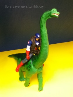 Captain America riding a freaking dinosaur!!!
