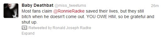 RONNIE RADKE RETWEETED ME EVERYTHING IS IRRELEVANT I CAN DIE HAPPY