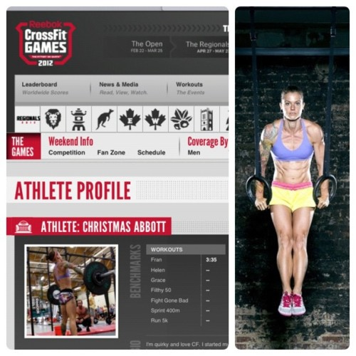Christmas Abbott! Uhm, wow. What an inspiration. #crossfitkendall #crossfit #crossfitgirls #fitness #goals #perseverance #doit #wod #wodkilla #crossfitgames #321go #progenex #christmasabbott #admiration #success #getoffyoass  (Taken with Instagram)
