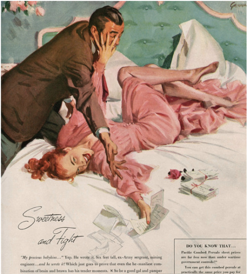 hollyhocksandtulips:  Balanced Pacific Sheets, 1940s Illustration by John Gannam