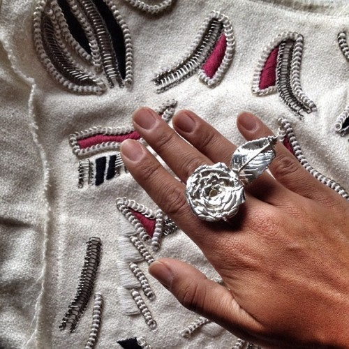 Details #iro #tribal embroidered jacket & #leivankash #silver Olivia rose #ring coming soon on www.leivankash.com #jewelry #jewellery (Taken with Instagram)