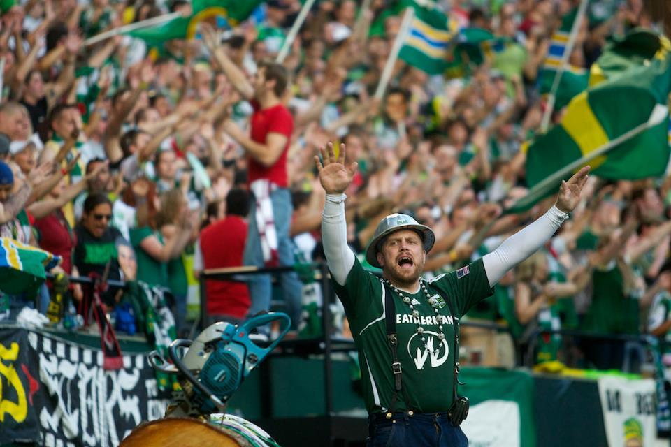 PORTLAND, OR - JULY 14: Timber Joey and the Timbers Army at JELD-WEN Field on July 14, 2012. (Ethan Erickson/Portland Timbers)