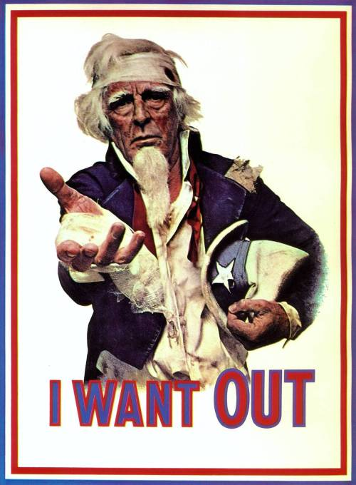 "collective-history:  ""I Want Out"" Anti-Vietnam war poster by the Committee to Unsell the War, which was a group of advertising professionals and artists, 1970"