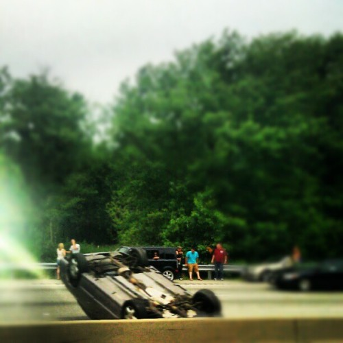 Headed to my show in Boston car flipped smooth over on the opposite highway crazy #loveLiFE (Taken with Instagram)