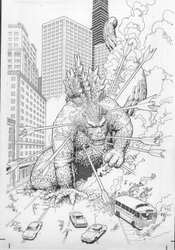 brianmichaelbendis:  Godzilla cover by Kevin Maguire, inked by Art Adams.
