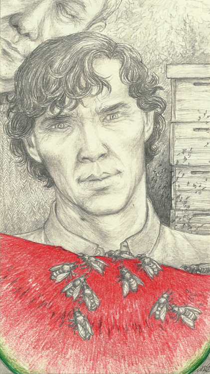 """Sherlock and watermelon: 2042"" Companion piece to ""Sherlock and watermelon: 1982"" and ""Sherlock and watermelon: 2012"". I'm going to post all three together in a moment, and some more stuff. I've just returned from a most excellent four day meeting of the German Tolkien Society at Burg Hessenstein, during which I had some time for drawing (nothing better for that than enchanting live-music and enlightening lectures and talks). So expect some fanart-spam today :D."
