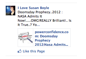 Best Facebook ad I've ever been served - click like if you love Susan Boyle and/or doomsday prophecies