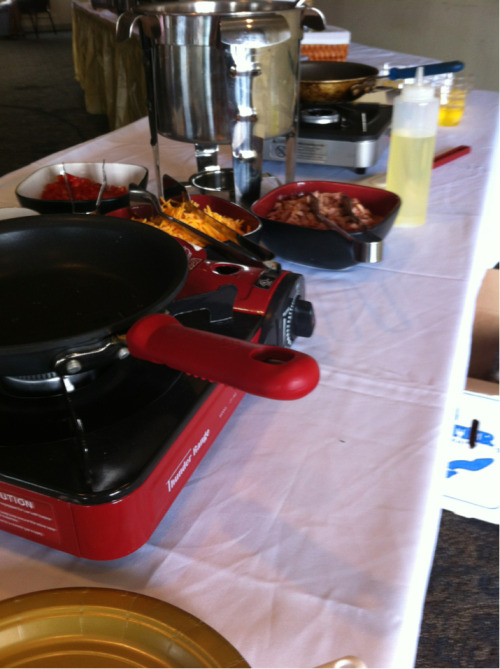 I have my omelet station set up & ready to roll. How would you like your egg prepared? #NolaChef