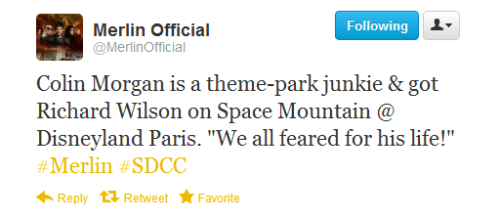 "Colin Morgan is a theme-park junkie & got Richard Wilson on Space Mountain @ Disneyland Paris. ""We all feared for his life!""‪#Merlin‬ ‪#SDCC‬"