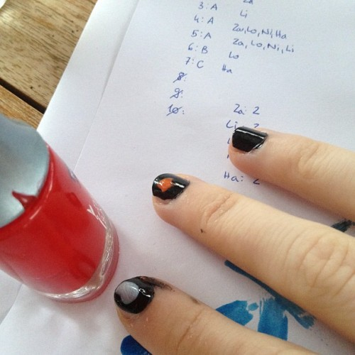 I'm painting my nails over the piece of paper where I wrote my results for a 'which member of one direction is right for you ?' quiz and I'm almost okay with myself being that person