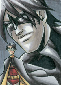 Nightwing & Robin Sketchcard, 2.5x3.5 inches, ink and marker.