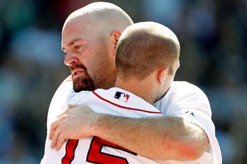 adventures-of-the-blackgang:  YOOOUUUUUKKKKKK Kevin Youkilis and Dustin Pedroia embraced after Youk's final at bat in a Red Sox uniform. —Kevin Youkilis' letter to Red Sox Nation:  What an amazing run I have had these past 8 1/2 years in Boston!It has been an honor and a privilege to play every home game of my career in Boston before a sold out Fenway Park. I would like to thank everyone who gave me an opportunity in Boston, and stood behind me through all these years. To the Spinners, the Sea Dogs, the PawSox, and to all those teammates on the Red Sox since 2004, I am forever grateful.I want to thank the Red Sox ownership for all the hard work and dedication to making the Red Sox and Fenway Park a special place to play…  keep reading on ESPN