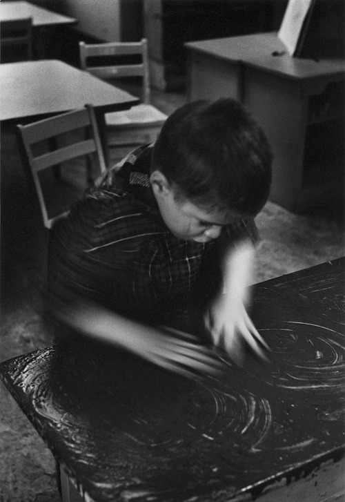 William Gedney Boy fingerpainting, St. Joseph's School for the Deaf, 1960