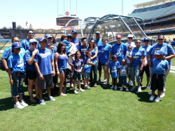 Dodger pitcher Aaron Harang with his Aaron's Aces foundation