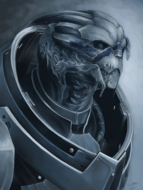 trinode:  so um, this got a little out of hand. garrus for chouxpuffs, ME3 version because i wanted to draw the scars. i've never used this much time drawing something with a tablet and yes, this is totally drawn with a reference shot. open canvas, one layer.