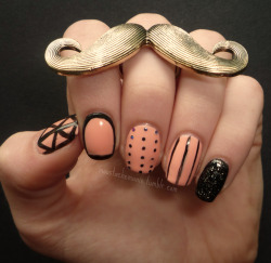 "moustachemanis:  Day(s) 8 & 9: Dots & Lines So according to my cousin these are ""disgusting 'cause they're all different on every finger"", but since she's only five I'll forgive her (for now). This was basically my attempt to combine as many of the days as possible into one design."
