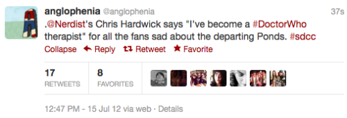 "‏@anglophenia: .@Nerdist's Chris Hardwick says ""I've become a ‪#DoctorWho‬ therapist"" for all the fans sad about the departing Ponds. ‪#sdcc"