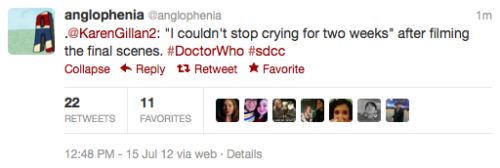 "axolotlesque:  doctorwho:  @anglophenia: .@KarenGillan2: ""I couldn't stop crying for two weeks"" after filming the final scenes. ‪#DoctorWho‬ ‪#sdcc"